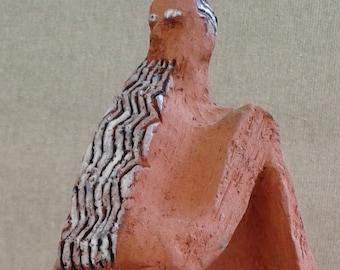 MOSES (Small Figure),Jewish Art,Ceramic sculpture,Israeli art,l'art juif,Fine Art Ceramics,Biblical figure,Folk art,Naive art,Christian art