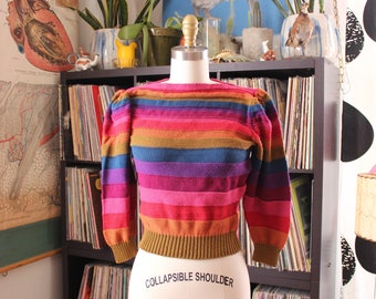early 80s rainbow striped sweater, womens size small cropped fit puffed sleeves, vintage 1980s sweater