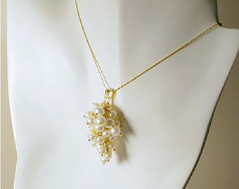White freshwater pearl pendant, thirty-five wire-wrapped white pearls, AA 5-6mm round pearl, pearl grape cluster, 14K gold plated tube chain