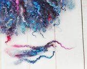 "Hand Dyed Separated Wensleydale Lamb Locks - 5-8"" - Art Fiber - Blueberries - 1.2 ounces"