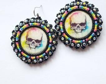 Rainbow Skull Beaded Earrings