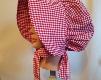 Women's or Girls Pioneer Bonnet, Red and White Gingham