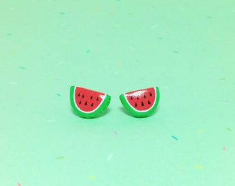 Watermelon Slice Clay Sterling Silver Post Earrings