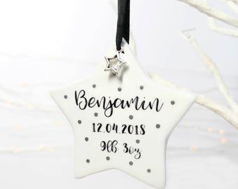 personalised new baby keepsake, star keepsake, baby star, hanging decoration, ceramic keepsake, new baby gift, little star, uk seller