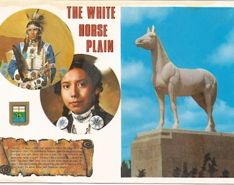 Vintage 1980s Postcard Manitoba MB Canada White Horse Plains Native Legend Statue Cultural Dress Card Photochrome Postally Unused
