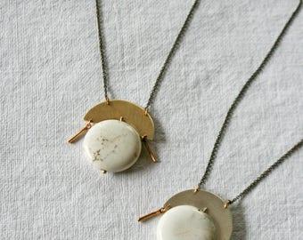 Gem Stone Necklace, Simple Minimalist Necklace, Planetary Necklace, Howlite, Circle, Gem Necklace, HALO