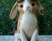 Tan and White Lop-eared Bunny Steampunk Myxie Pal Sculpture