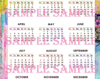 Almost FREE Printable Yearly Calendar 2018, Floral Mixed Media Full Page Calendar, Free Digital Download You Print PIF Pay it Forward