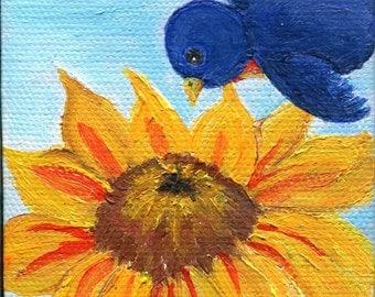 Original Bluebird with Sunflower original acrylic painting, mini canvas art