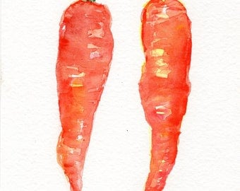 Original Carrots Watercolor Painting 5 X 7 Small Vegetable Painting, Kitchen Wall Art,  water color painting of carrots, kitchen decor