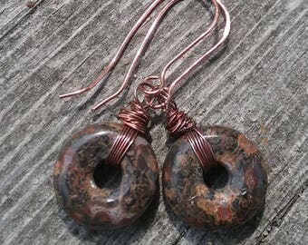 Leopard Skin Jasper and Copper Dangle Earrings