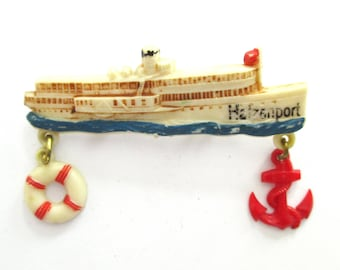Nautical Brooch Ship Novelty Pin North Sea Red White Blue Boat Brooch Summer Jewelry 1960s Sailboat Gifts Ideas Dad Boyfriend Gifts