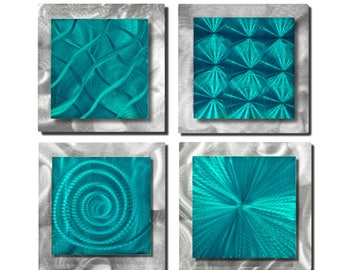 Vibrant Teal Blue & Silver Modern Metal Wall Art Accent, Contemporary Wall Sculpture, Abstract Wall Decor Art - 4 Squares Teal by Jon Allen