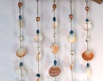 Seashell Windchime Mobile, Handmade with Driftwood, Seashells and Beads, Coastal Style Chime for your Backyard, Patio, Deck, Pool, or Garden