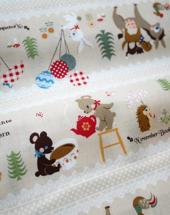 "50 cm (19,7"") fabric cotton Kokka - November Books - Woods - Animals - Bear - Hedgehog - fawn - 100% Cotton - 110cm width"