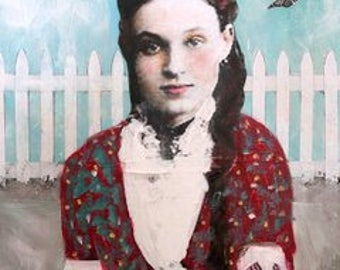 large painting vintage young woman with butterflies original