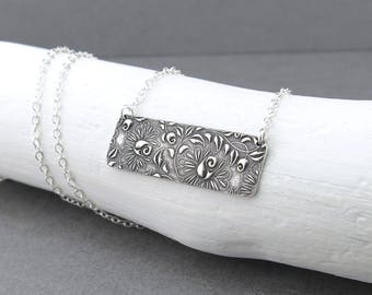 Silver Bar Necklace for Women Layering Necklace Sterling Silver Necklace Rose Necklace Floral Jewelry Bohemian Jewelry Holiday Gift for Her