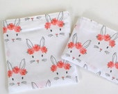 Bunnies in crowns Snack bag - Reserved for Consciously_vegan, Reusable Snack bag, sustainable, Easter treat bag, Easter basket stuffer