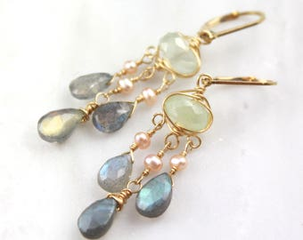 Chalcedony, Pearl and Labradorite Gold Chandelier Earrings