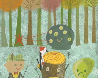 Henry only had three friends, a log and two blobs. Limited edition print by Matte Stephens.