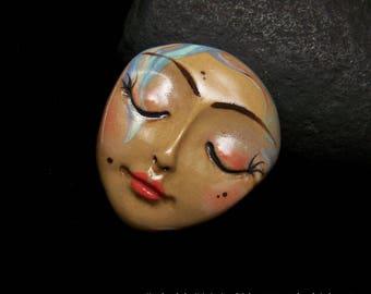 Fleshtone with Swirls Bohemian Goddess Face Cab Handmade Polymer Clay Cabochon beading supply, art doll part, collage