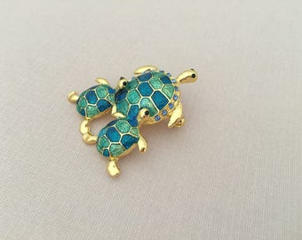 Green Turtle Brooch.Turtle Brooch.Sea Turtle Brooch.bridal accessory.broach.beach wedding.Pin.Teal.Crystal Turtle.Mom & Child.Baby.Family