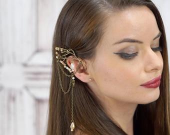 Elf Ear Cuff, Antiqued Brass Branch Cuff, Elven Jewelry, Elf Ear, Forest Elf, Wood Elf, Elf Queen, Fairy , Brass Cuff, Cosplay,