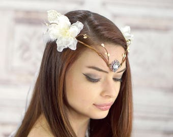 Bridal Diadem, Elven Crown, White and Ivory, Elven Headdress, Fairy Crown, Costume Headpiece, Bridal Headdress, Flower Crown, Woodland