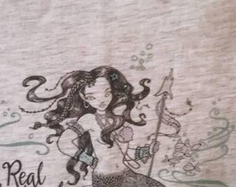 "Mermaid Tee - LAT Ladies M, L, XL, 2XL Ash Soft, Short Sleeve, Light Weight T-Shirt Original Digital B/W Art ""Real Mermaids Smoke Seaweed"""