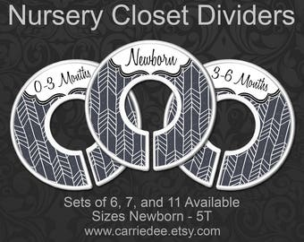 Charcoal Herringbone Baby Clothes Dividers, Nursery Closet Dividers, Baby Clothes Organizers, Grey Baby Boy Decor, Gray Gender Neutral Baby