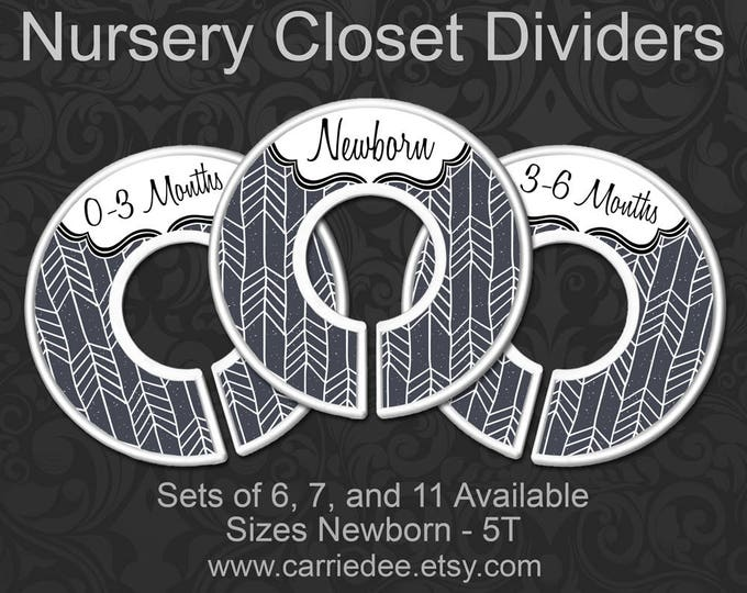 Charcoal Herringbone Baby Clothes Dividers, Nursery Closet Dividers, Baby Clothes Organizers, Grey Baby Decor, Gray Gender Neutral Baby