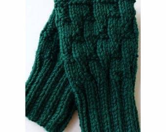 FOREST GREEN Darting Diagonals Fingerless Gloves, Merino Wool Knit Mitts / Gauntlets, Glovelets, Mitts, Mittens, Texting