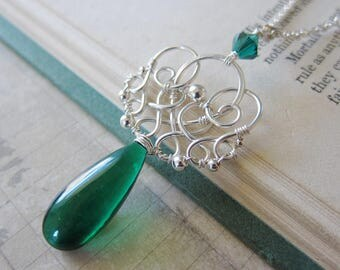 Encantado - A Sterling Silver and Emerald Green Quartz Wirework Pendant