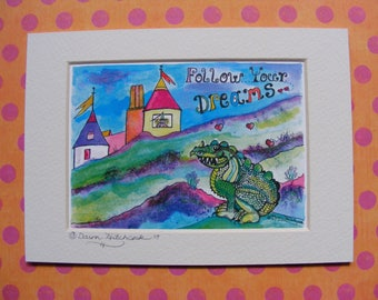 Adorable, Handmade, Beautiful, Rainbow Dragon, Dragon Print, Dragon Art, Whimsical Dragon, Dragon Quote, Princess in Castle, Childs Art