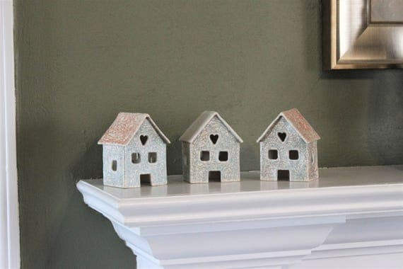 Tea Light Candle Houses - Set of 3 - Stoneware Luminary Houses - Candle Holder - Rustic House - Farmhouse Decor - Fairy House - Garden Decor