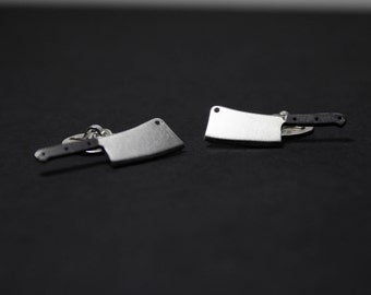 Cleaver Knife Hand Cut Sterling Silver Unique Cufflinks