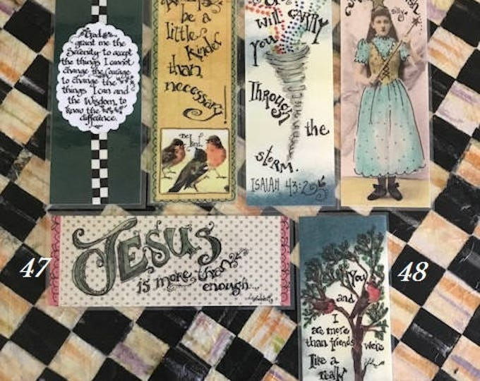 Inspirational Bookmarks-Cindy Grubb_For His Glory -#43-48-Serenity Prayer,Tornado(Isaiah), Be Kind,MakeA Wish,Jesus Is More Than,Small Gang
