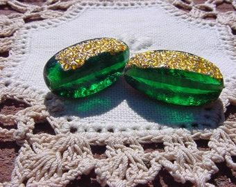 Emerald Golden Foil AMAZING Vintage Glass Foil Beads