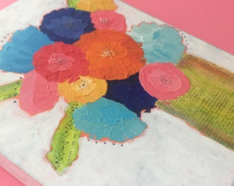 Textured flower painting. Mixed Media Painting. Colorful wall art. Abstract flower Art. Living Room Wall Decor. original flower artwork.