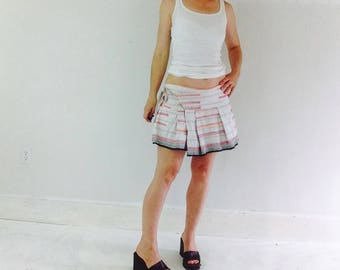 Mini Skirt of Vintage Hand Woven Hmong Hemp Linen from Thailand.  Boho Chic. Flirty