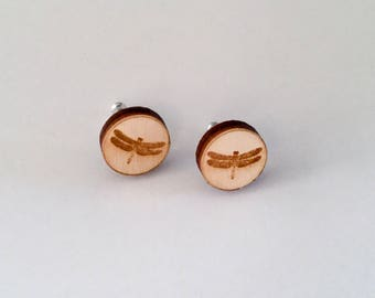 Dragonfly Earrings Wearable Art - Wood Earrings  Nature Animal Art Eco Studs Insect