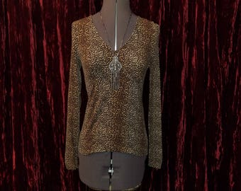 Vintage Black Leopard Blouse Top Small, Pin-Up Rockabilly Cheetah