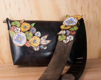 Black Leather Crossbody Bag -  Flower Garden Pattern with cut-out leather flowers and Guitar Strap Purse Strap - Shoulder Bag