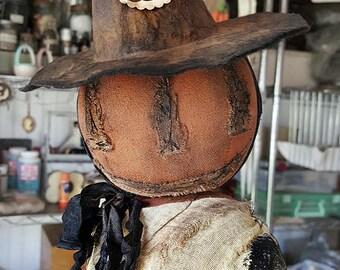 Primitive Pumpkin Witch Doll Standing OOAK Halloween Jointed Head Fabric Early Cloth Orange Alma Farmhouse Kim Kohler Veenas Mercantile