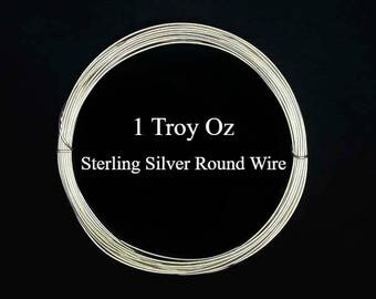 Sterling Silver Wire, Round, 1 Troy Oz - Made in USA - Select your Size