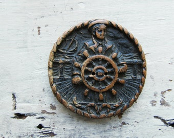 Large Vintage Burwood Syroco Molded Wood Composition Ship's Captain Button