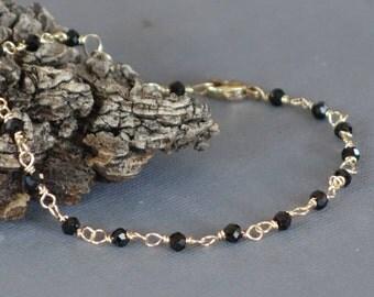 Black Spinel Bracelet, 14k Gold Wire Wrapped Black Spinel Bracelet, 7 inches long