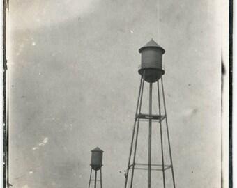 vintage photo 1914 WAter Tank Towers Plainville Kansas J.L. Bles