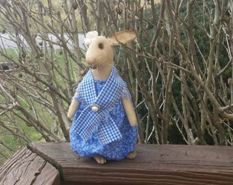 """11"""" Standing Bunny Doll In Spring Blue"""