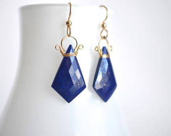Celine - Lapis Lazuli 14k GF Earrings || Lapis Lazuli Dangles || 14k Gold Filled Geometric Earrings